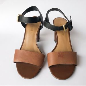 Franco Sarto tan and black 3 inch heeled sandals